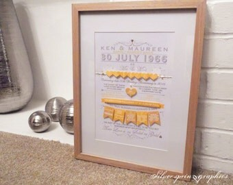 Golden Wedding Anniversary Memory Print