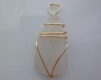 Sea glass wire wrapped pendant