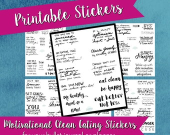 Healthy Living Motivational Stickers, bullet journal stickers, bujo stickers, healthy eating, planner stickers, clean eating, fitness, print