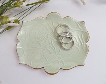 Ring Dish, Wedding ring holder, Tea Bag Holder, Spoon Rest, Engagement Gift, Mint Green and Gold