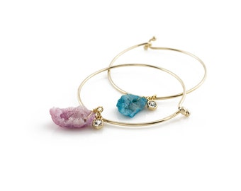 Beautiful Stone Bracelet in Aqua or Purple