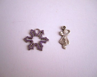 2 metal, Star and child charms