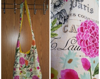 Paris Floral Cross body Market Style Hobo bag