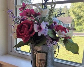 Flower Arrangement, Flora Arrangement, Metal Bucket, Dragonfly Decor, Summer Flowers, Flower Arrangement in Metal Bucket, Spring Flowers