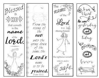 Bible Verse Bookmarks on the Name of the Lord B/W Color Your Own Print and Cut