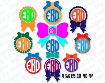 Circle Monogram Bow Frames, Svg Cutting File, Svg, Dfx, Eps, Png, Pdf, Cricut Design Space, Silhouette Cameo, Digital Cut Files, Die Cut