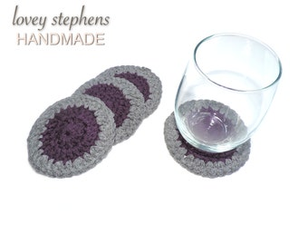 Handmade Crochet Coaster Set - Two Color: Purple and Gray