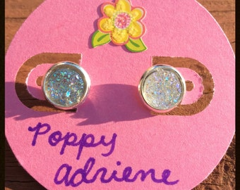 White Faux Druzy 8mm Stud Earrings: the perfect gift