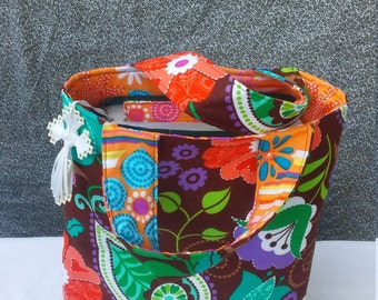 Brown & Orange Paisley Mini Tote