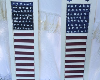 Upcycled , repurposed, recycled American flag shutter