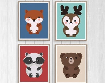 Woodland Animal Nursery Print Set, Woodland Animal Wall Art, Instant Download Printable Nursery Decor: fox, deer, raccoon, and bear