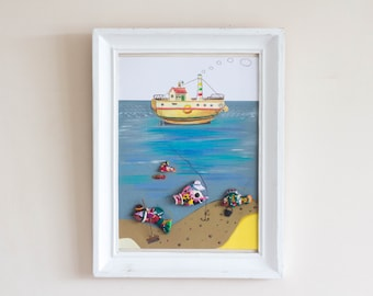 Seafarer - Original Painting with clay models