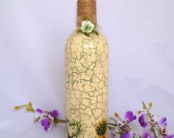 Decorated bottle. Painted bottle. Glass bottle.  Eggshell. Recycled. Handmade.