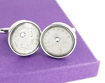 """10 Year Anniversary Cufflinks with Swarovski Anniversary Stone - """"Tin Wedding Anniversary"""" - 2008 UK 5p Coin Cufflinks"""