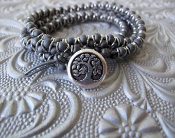 Hematite Heaven Three Wrap Bracelet