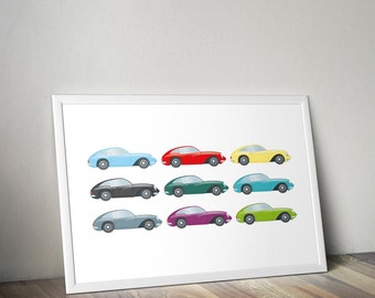 coupe cars digital poster, coupecars clip art, instant download, 9 cars clip art, printable poster, scrapbooking