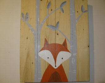 Wooden frame recycled representation of Fox