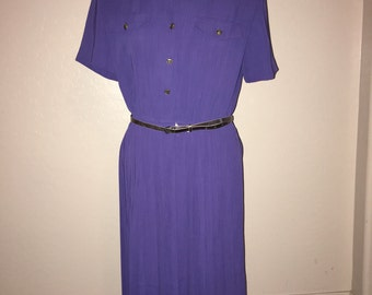 Vintage 1980's Purple Pleated Dress