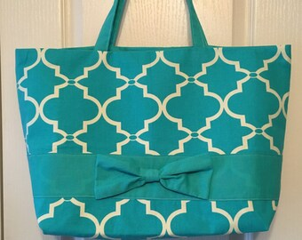 Turquoise pattern canvas tote bag with bow