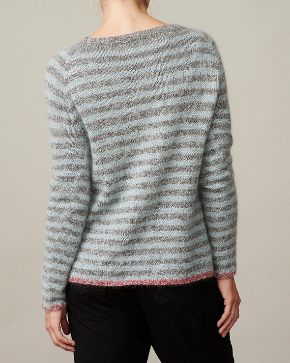 Ladies Raglan Jumper Knitting Pattern : Striped raglan pullover sweater PDF knitting pattern / womens wool sweat...