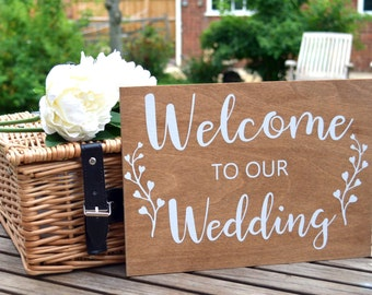 A4 Rustic Wedding Sign, Welcome to Our Wedding Sign, Wooden Wedding Sign, Vintage Style Pretty Detail