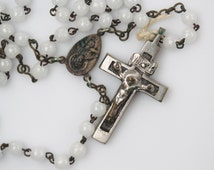 Vintage German Crucifix Cross with Ebony Inlay Rosary - White Plastic Rosary Prayer Beads - Traditional Five Decade Rosary