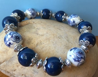 Vintage Style Bracelet, Beaded Bracelet, Stretch Bracelet, Stacking Bracelet, Elastic Bracelet, Ceramic Flower Bracelet