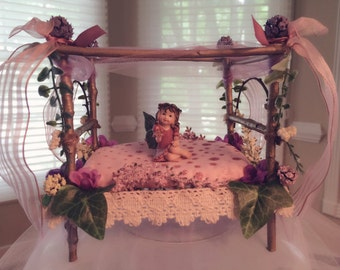 Romantic Fairy canopy bed for your magical fairy garden.