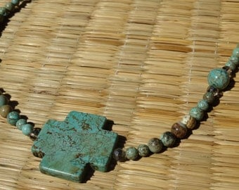 Turquoise cross with beads