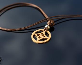 Gold handmade necklace. Japanese family crest. Mon, Kamon, Sakura symbol, Clan crest, Warrior Bushi, Samurai, Strength, Zen, Pendant