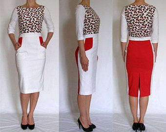 SALE Special silk, red, ivory, black, pencil, elegant, casual dress for you with side pockets Size UK 10 / US 6
