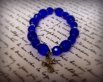 Elegant Faith Bracelet in Cobalt
