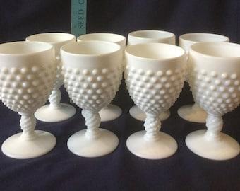 8 Fenton Milkglass Hobnail glasses