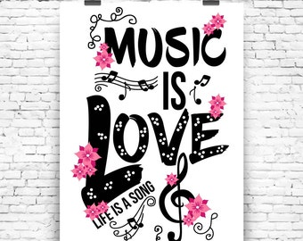 Music is Love Wall Art Print