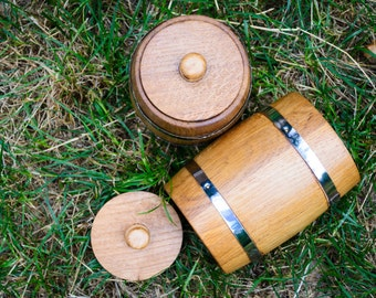 Set of 2 handmade wooden containers, sugar bowl, sugar bowl with lid, wooden pot with lid for bulk products, wooden pot, bowl for sugar
