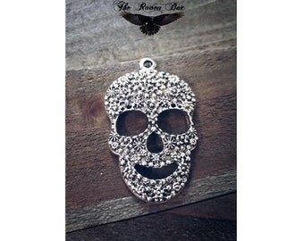 "Large Sugar Skull Pendant Antiqued Silver Calavera Pendant Day of the Dead Pendant Gothic Pendant 49mm 1.92"" Charms by the Piece"