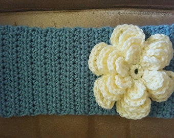 Adult Azure Crochet Headband/Earwarmer with button closure
