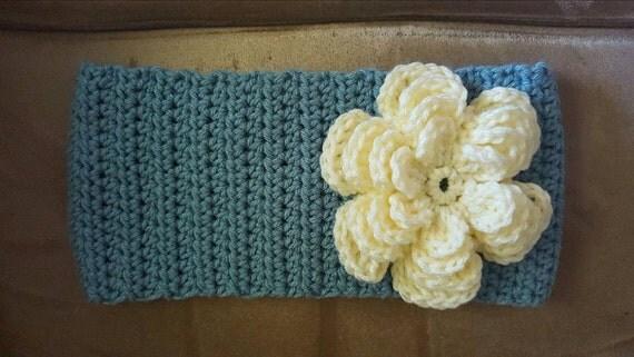 Adult Azure Crochet Headband/Earwarmer with button closure