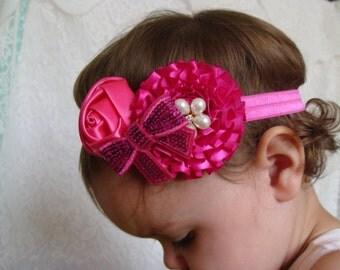 Shocking pink Baby Headband Flower headband elastic headband pink headband rhinestone headband rose headband bow headband in pink