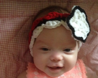 Poke Ball baby headband crochet pattern