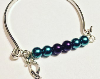 Mixed Connective Tissue Disease MCTD awareness bracelet. Green and turquiose glass pearls and a bangle bracelet. Cause jewelry, gift for her