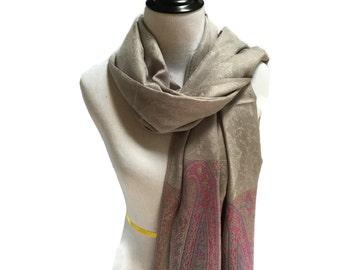 Pashmina Scarf Pink Scarf Grey Scarf Pashmina Shawl Gift For Her Pashmina Wrap Fashion Accessories Mothers Day Pashmina Scarves Gift Idea