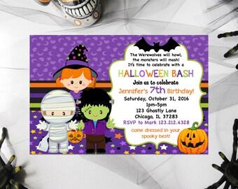 Halloween Birthday Invitation, Kids Halloween Invites, Birthday Party printable invitations, halloween invitations, party invitations,