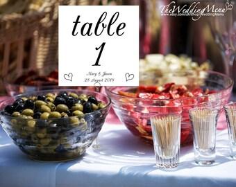 Wedding Table Numbers DIY Table Numbers PDF Printable Number Cards Printable Seating Cards Wedding Printable Cards Wedding Numbers DIY TN01