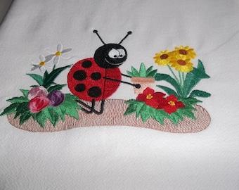 Embroidered, Flour Sack Towel, Ladybug Towel, Ladybug Planting Flowers, Absorbent, White Cotton, Gift