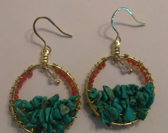 Turquoise and Swarovski Crystal Gold Earrings