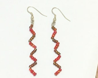 Red and brown zig zag earrings