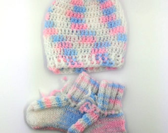 Multicolor Baby Hat and Booties