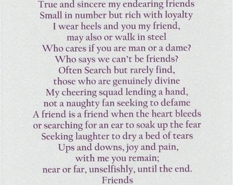 FRIENDS - Print - Contemporary Poetry by E. Amoire - Size 8.5X11