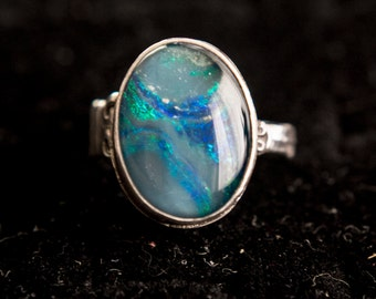 Black Opal and Sterling Silver Ring
